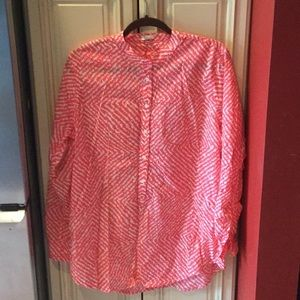 Ladies J Crew pink and white long tunic. Size L